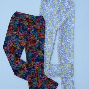 Lularoe set of 2 kids size L/XL printed leggings